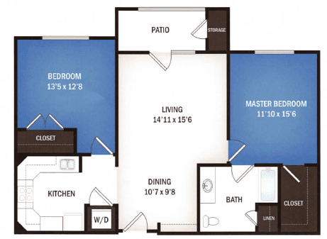 floor plan of Aquarius two bedroom floor plan at Skye Luxury Senior Living in Leander, Texas