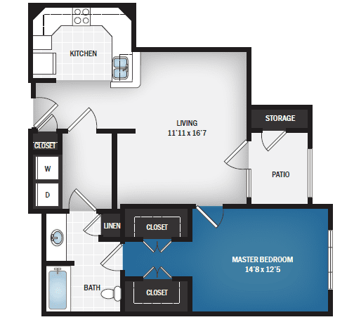 floor plan of Astra one bedroom floor plan at Skye Luxury Senior Living in Leander, Texas