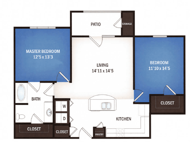 floor plan of Galaxy one bedroom floor plan at Skye Luxury Senior Living in Leander, Texas