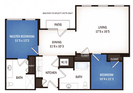 floor plan of Gemini two bedroom floor plan at Skye Luxury Senior Living in Leander, Texas