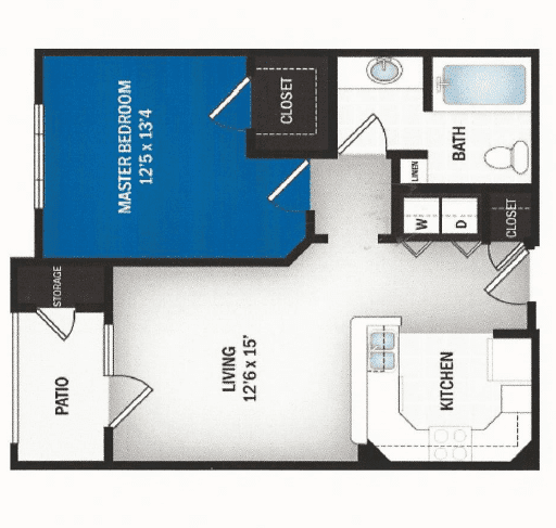 floor plan of Heaven one bedroom floor plan at Skye Luxury Senior Living in Leander, Texas