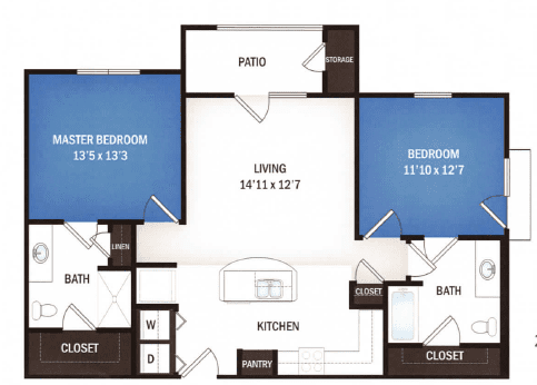 floor plan of Leo two bedroom floor plan at Skye Luxury Senior Living in Leander, Texas