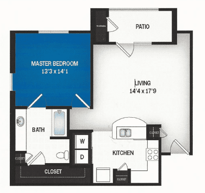 floor plan of Neptune one bedroom floor plan at Skye Luxury Senior Living in Leander, Texas