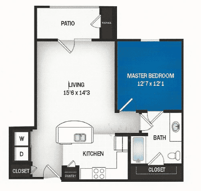 floor plan of Nova one bedroom floor plan at Skye Luxury Senior Living in Leander, Texas
