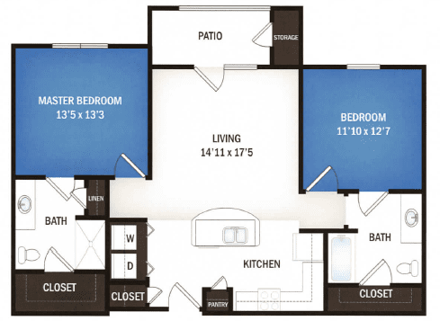 floor plan of Orion two bedroom floor plan at Skye Luxury Senior Living in Leander, Texas