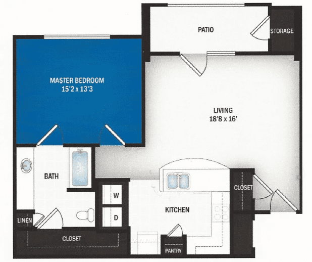 floor plan of Starburst one bedroom floor plan at Skye Luxury Senior Living in Leander, Texas
