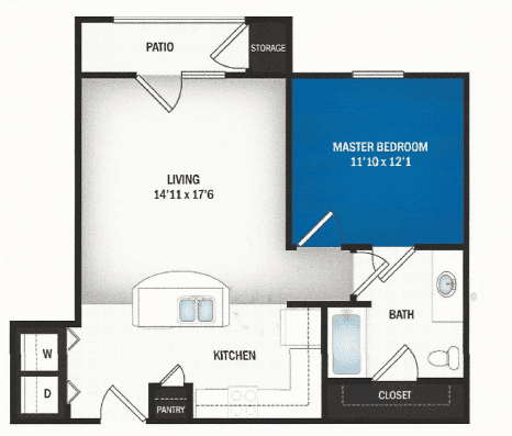 floor plan of Stratus one bedroom floor plan at Skye Luxury Senior Living in Leander, Texas