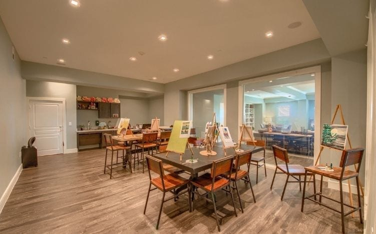 activity room at skye luxury senior living retirement apartments in leander, texas
