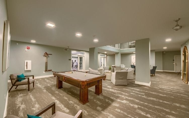 billiards at skye luxury senior living retirement apartments in leander, texas