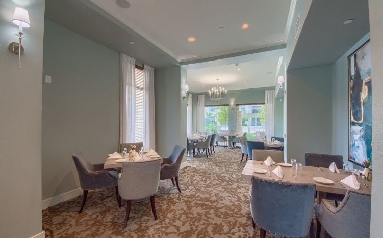 dining at skye luxury senior living retirement apartments in leander, texas