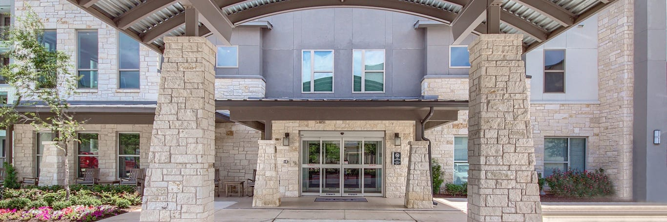 entrance to skye luxury senior living retirement apartments in leander, texas