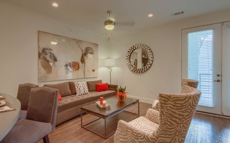 family room at skye luxury senior living retirement apartments in leander, texas