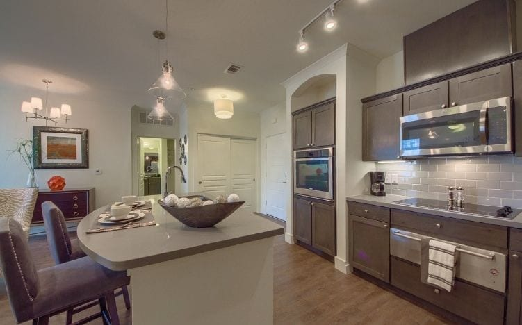 kitchen at skye luxury senior living retirement apartments in leander, texas
