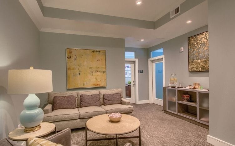lounge at skye luxury senior living retirement apartments in leander, texas