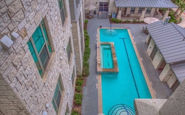 pool at skye luxury senior living retirement apartments in leander, texas