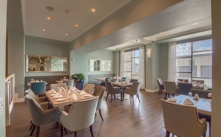restaurant at skye luxury senior living retirement apartments in leander, texas