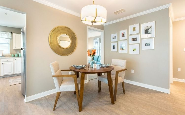 model apartment kitchen table at verena at hilliard independent senior living community in hilliard, ohio