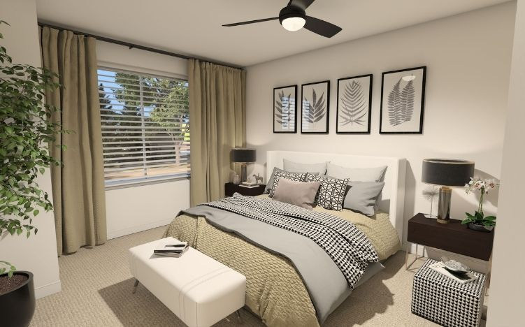 rendering of bedroom at verena at hilliard independent living community in hilliard, ohio