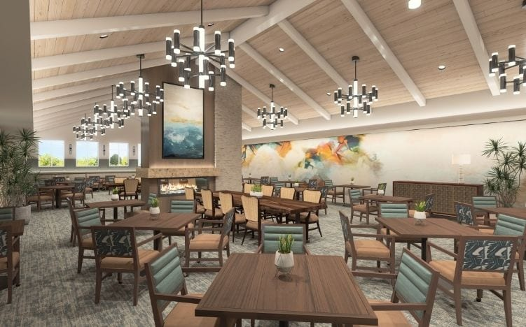rendering of dining room at verena at hilliard independent living community in hilliard, ohio