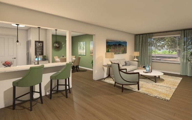 rendering of apartment entry at verena at hilliard independent living community in hilliard, ohio