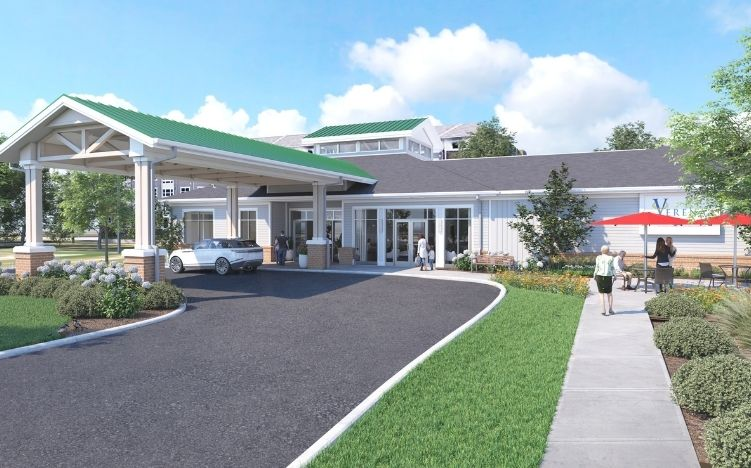 rendering of exterior entrance at verena at hilliard independent living community in hilliard, ohio