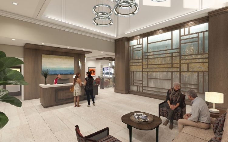 rendering of lobby at verena at hilliard independent living community in hilliard, ohio