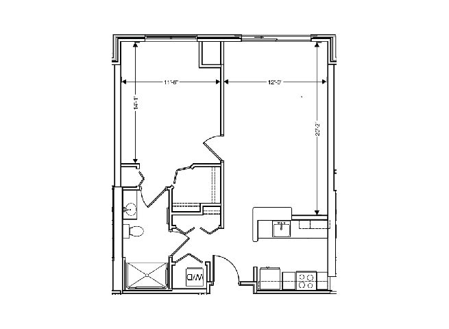 floor plan of a 742 sq ft 1 bedroom apartment at independent senior living community verena at hilliard in hilliard, ohio