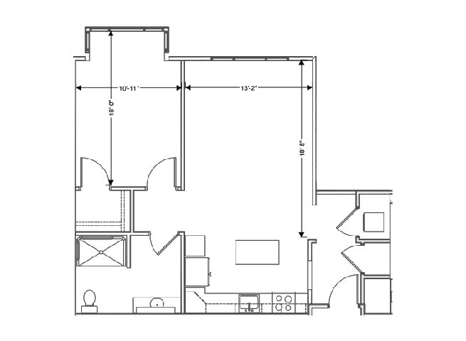 floor plan of a 753 sq ft 1 bedroom apartment at independent senior living community verena at hilliard in hilliard, ohio