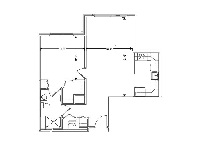 floor plan of a 777 sq ft 1 bedroom apartment at independent senior living community verena at hilliard in hilliard, ohio