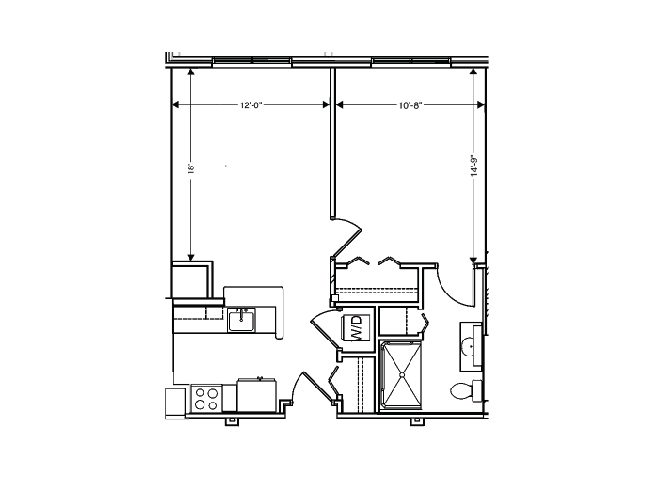 floor plan of a 620 sq ft 1 bedroom apartment at independent senior living community verena at hilliard in hilliard, ohio
