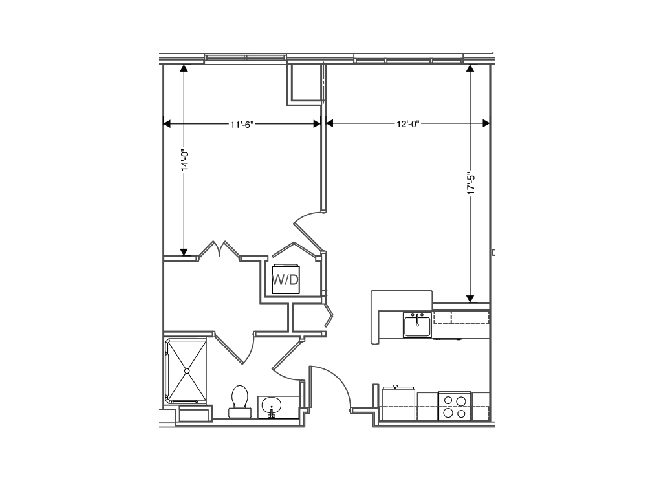 floor plan of a 674 sq ft 1 bedroom apartment at independent senior living community verena at hilliard in hilliard, ohio