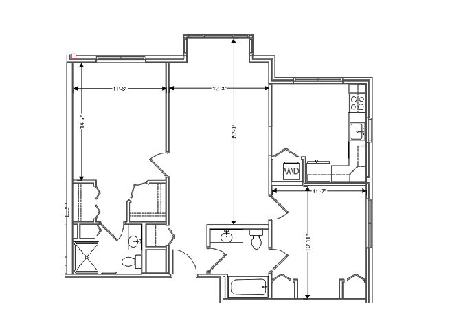 floor plan of a 1045 sq ft 2 bedroom apartment at independent senior living community verena at hilliard in hilliard, ohio