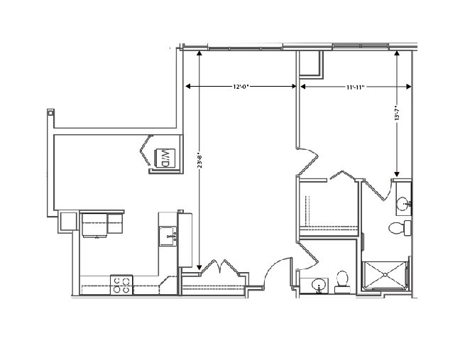 floor plan of a 915 sq ft 1 bedroom apartment at independent senior living community verena at hilliard in hilliard, ohio