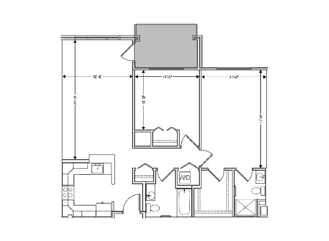 floor plan of a 1087 sq ft 2 bedroom apartment at independent senior living community verena at hilliard in hilliard, ohio