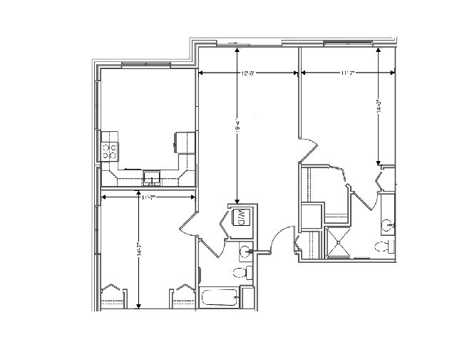 floor plan of a 1108 sq ft 2 bedroom apartment at independent senior living community verena at hilliard in hilliard, ohio