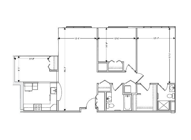 floor plan of a 1252 sq ft 2 bedroom apartment at independent senior living community verena at hilliard in hilliard, ohio