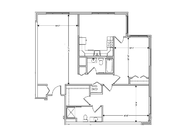 The floor plan of a 1348 sq ft 2 bedroom apartment at independent senior living community verena at hilliard in hilliard, ohio