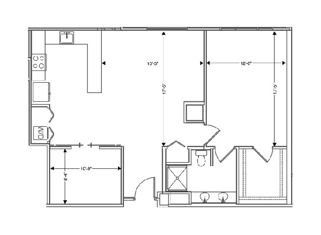 floor plan of a 1000 sq ft 1 bedroom apartment at independent senior living community verena at hilliard in hilliard, ohio