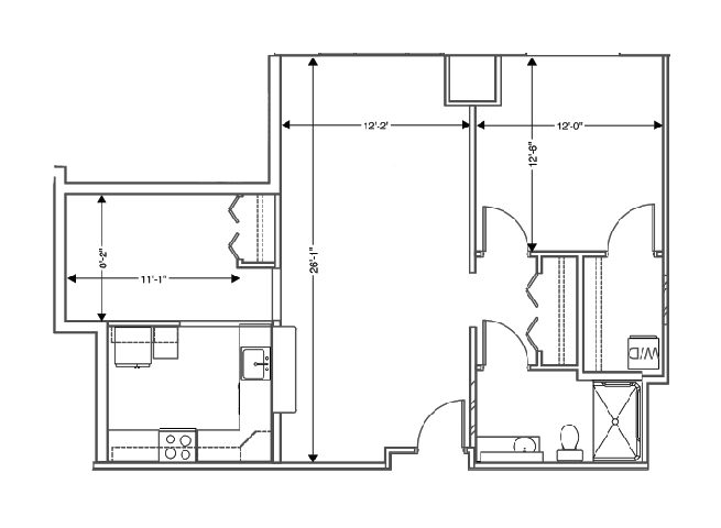 floor plan of a 840 sq ft 1 bedroom apartment at independent senior living community verena at hilliard in hilliard, ohio