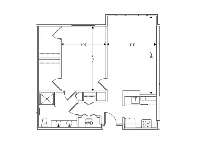 floor plan of a 874 sq ft 1 bedroom apartment at independent senior living community verena at hilliard in hilliard, ohio