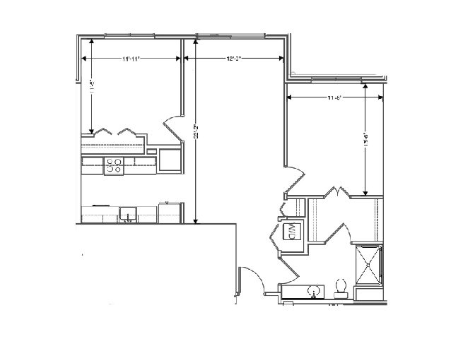 floor plan of a 974 sq ft 2 bedroom apartment at independent senior living community verena at hilliard in hilliard, ohio