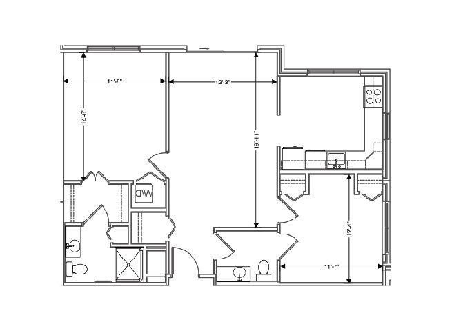 floor plan of a 968 sq ft 2 bedroom apartment at independent senior living community verena at hilliard in hilliard, ohio