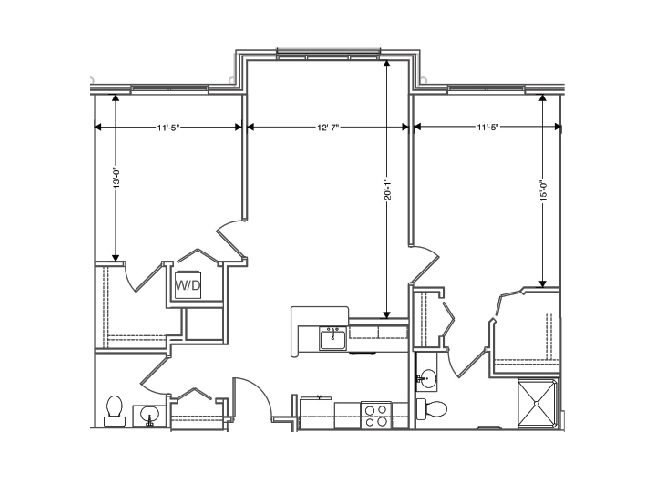 floor plan of a 1049 sq ft 2 bedroom apartment at independent senior living community verena at hilliard in hilliard, ohio