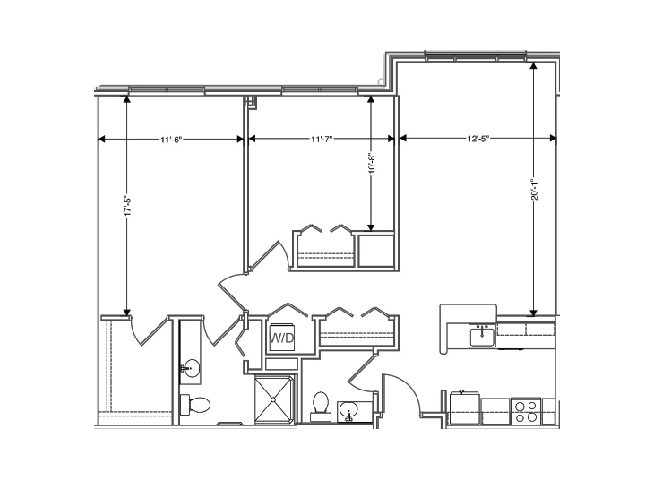 floor plan of a 1047 sq ft 2 bedroom apartment at independent senior living community verena at hilliard in hilliard, ohio