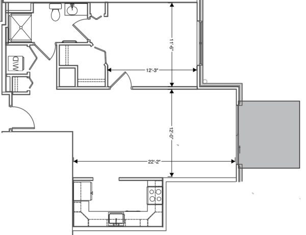 floor plan of 1 bedroom apartment at independent senior living community verena at hilliard in hilliard, oh